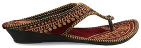 Be You Maroon Embroideried Women's Ethnic Flats