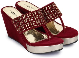 Shezone Women Maroon Pumps