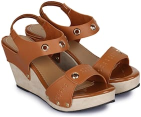 Beautiful Tan color synthetic material wedges for womens from Shezone