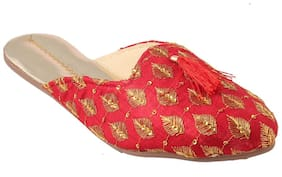 Gerief Handmade Embroidery Red Mules
