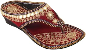 Gerief Embroidery Maroon Slipper