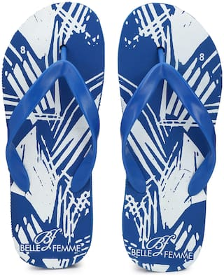 Belle Femme Men's Blue White Print Flip Flops