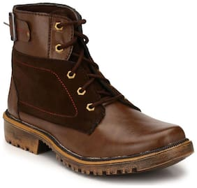 Big Fox Men's High Ankle Synthetic Brown Boots Shoes