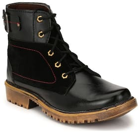 Big Fox Men's High Ankle Synthetic Black Boots Shoes
