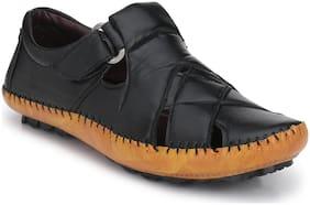 Big Fox Men's X1 Cross Style Roman Sandals, Black