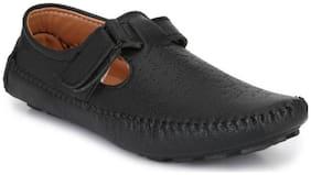 Big Fox Roman Sandal Monk Strap For Men  (Black)
