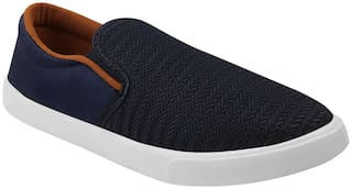 Birde Blue Canvas Slip-On Shoes For Men