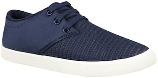 Birde Blue Canvas Casual Shoes For Men