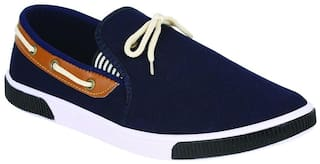 Birde Blue Canvas Casual Shoes For Men