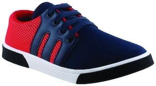 Birde Blue & Red Canvas Lifestyle Casual Shoes For Men