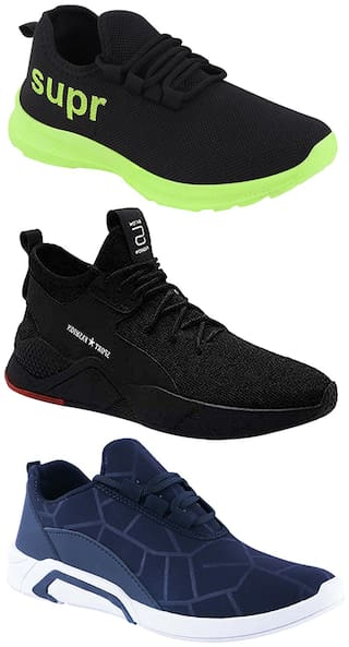 Birde Men Multicolor Mesh & Canvas Casual;Sports Sneakers Runnning Shoes for Men's & Boy's - UK8 (Combo of 3)