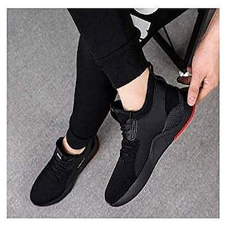 Birde Mesh Black Casual Shoes For Men