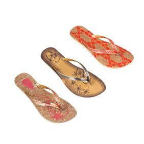 Birde Multicolor PU Slippers Pack Of 3 For Women