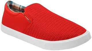 Birde Red Canvas Slip-On Shoes For Men