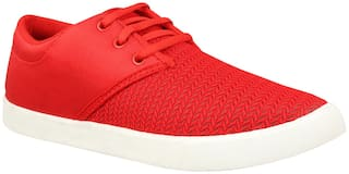 Birde Red Canvas Casual Shoes For Men
