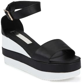 Truffle Collection Black and White Ankle Strap Wedges