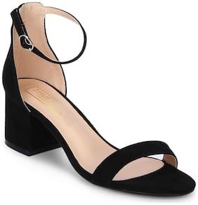 Truffle Collection Black Ankle Strap Kitten Block Heels