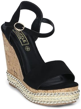 Truffle Collection Black Ankle Strap Wedges
