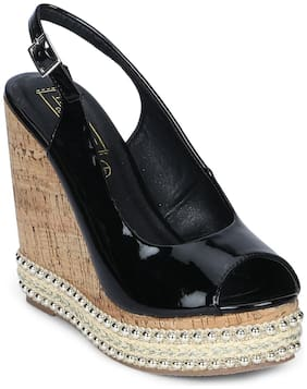 Truffle Collection Black Back Strap Wedges