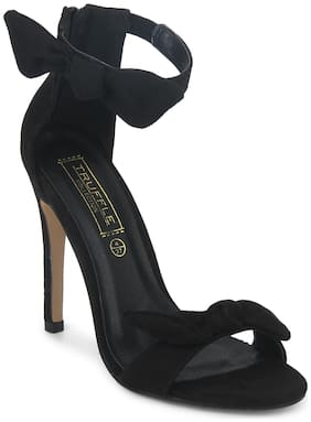 Black Bow Ankle Strap Stilettos