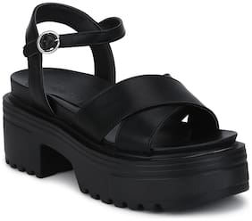 Black Box Crossover Cleated Bottom Platform Block Heels