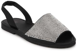 Truffle Collection Black Diamante  Back Strap Slip-On Sandals