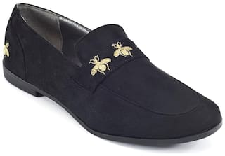 Truffle Collection Black Faux Suede Bee Detail Flat Slip On Casual Shoes