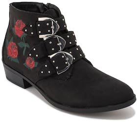 Truffle Collection Black Faux Suede Embroidery Buckle Ankle Boot
