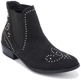 Truffle Collection Black Faux Suede Stud Detail Chelsea Ankle Boot