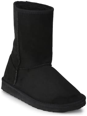 Black Flat Snow Mid Calf Long Boots