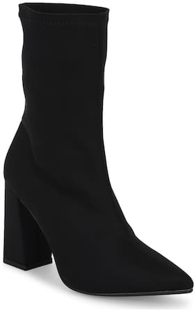 Black Lycra Sock Block Heel Ankle Boots