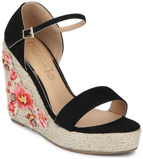Truffle Collection Black Micro Embroidred Ankle Strap Wedges