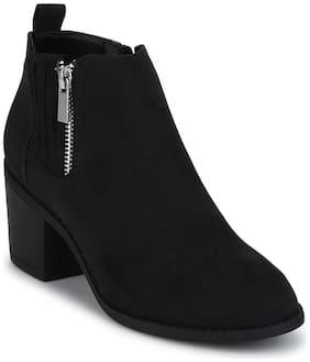 Black Micro Zipper Low Block Heel Ankle Length Boots