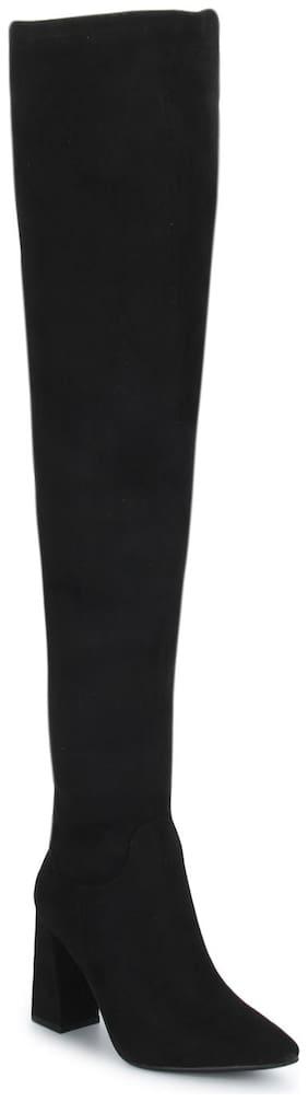 Black Micro Pointed Toe Block Heel Long Boots