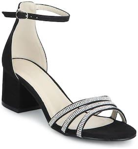 Black Micro Multiple Strap Diamante Low Block Heels