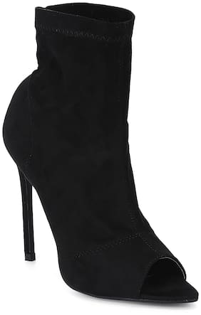Truffle Collection Black Micro Peep toe Stiletto Ankle Length Boots