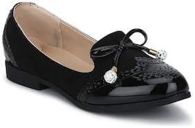 Black Micro Thin Diamante Bow Belly Flats