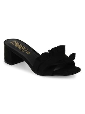 777265dee4b1 Truffle Collection Black Micro Slip-On Low Block Heels