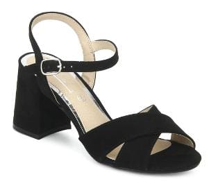 Truffle Collection Black Micro Crossover Ankle Strap Block Heels