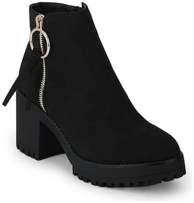 Black Micro Side Zipple Cleated Platform Block Heel Ankle Length Boots
