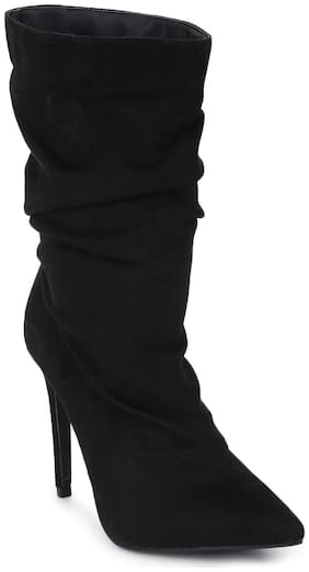 Truffle Collection Black Micro Sock Slouched Pointed Toe Stiletto Ankle Length Boots
