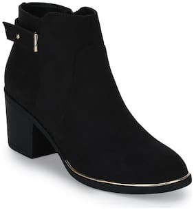 Black Micro Ankle Strap Low Block Heel Ankle Length Boots
