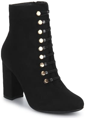 Black Micro Lace-Up Block Heels Ankle Boots