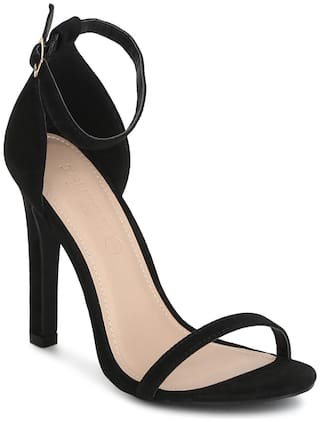 Truffle Collection Black Micro Ankle Strap Barely There Stilettos