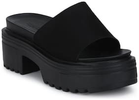 Black Micro Slip-on Cleated Bottom Platform Block Heels