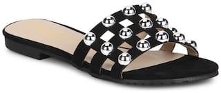 Truffle Collection Black Micro Beaded Slip-On Flats
