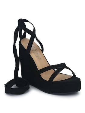 31424fcf374 Truffle Collection Black Micro Wraparound Wedges