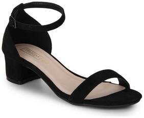 Truffle Collection Black Micro Ankle Strap Block Heels