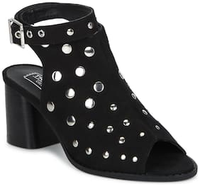 Truffle Collection Black Microfibre Studded Ankle Strap Peep Toe Block Heels