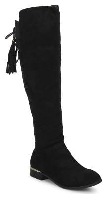 Truffle Collection Black Microfibre Flat Long Boots